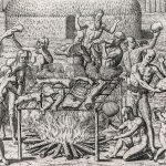 Cannibalism, Brazil. Engraving by Theodor de Bry for Hans Staden's account of his 1557 captivity.