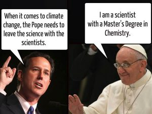 That the Pope refers to experts rather than his own scientific research does not nullify Rick Santorum's embarrassment here.