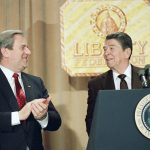 The Religious Right - Jerry Falwell and President Ronald Reagan during a 1987 speech at Liberty University